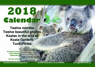 Front cover of the Koala Gardens 2018 Calendar on sale now