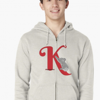K is for koala on a zipped hoodie - great buy at red bubble