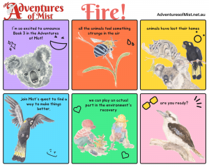 Comic strip version of story outline of Fire - a childrens book about koala adventures and climate change